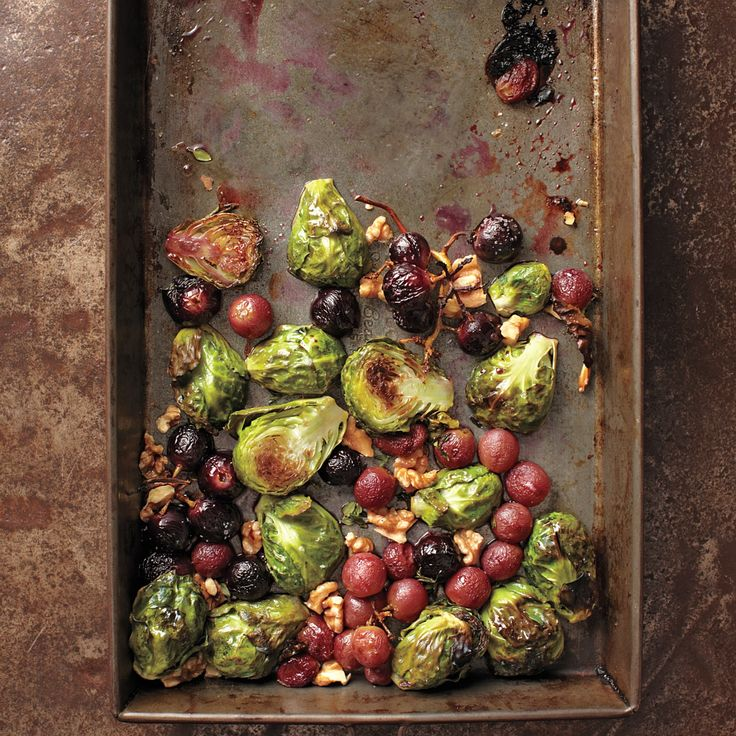 ... holiday side dish - Roasted Brussel Sprouts & Grapes with Walnuts