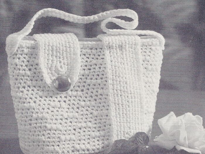Crochet Bucket Bag Pattern : Vintage Bucket Bag Tote Crochet Pattern Vintage Hats, Bags & Access ...