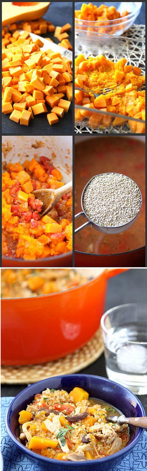 Hearty Chicken Stew with Butternut Squash & Quinoa Recipe | Homemade ...