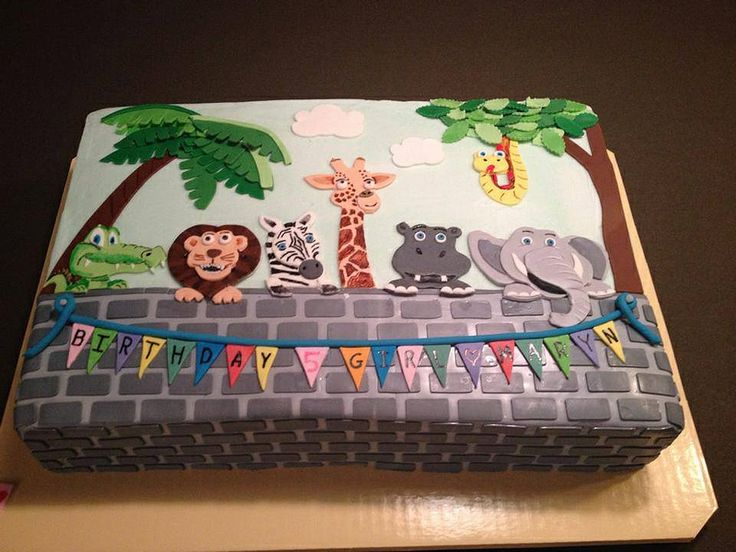 zoo animal birthday cake  Birthday Cakes  Pinterest