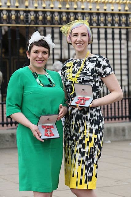 "On June 2013, Rosie and Harriet (Tatty Devine designers) headed to Buckingham Palace in their finest Tatty Devine pieces to receive MBEs for Services to the Fashion Industry. Rosie and Harriet said, ""Receiving our MBEs today is undoubtedly the proudest achievement of our careers to date. We've always been driven to create new, original and exciting jewellery, so to be formally recognised in this way is just incredible."""