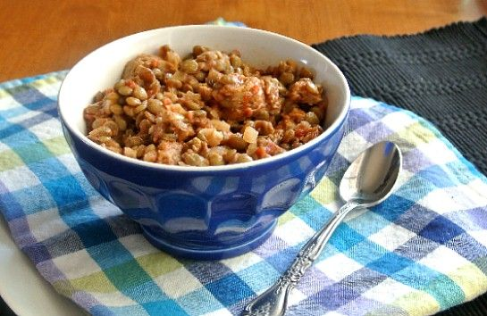 Lentil Sausage Casserole is baked with Italian Sausages. Delicious and ...