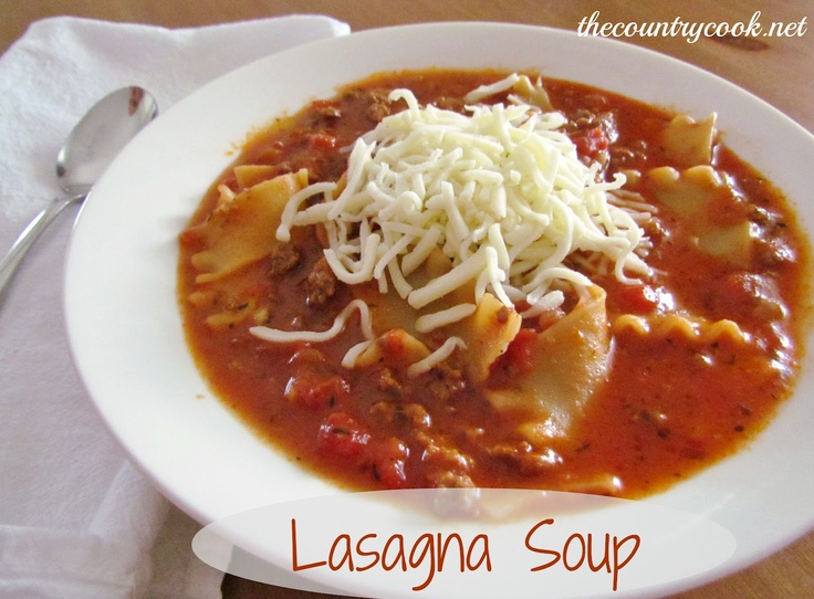 Lasagna Soup -- ground beef, onion, bell pepper, garlic, thyme ...