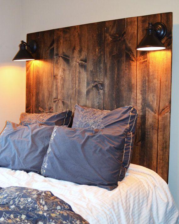Rustic vertical grain headboard with lighting for Diy wooden headboard with lights