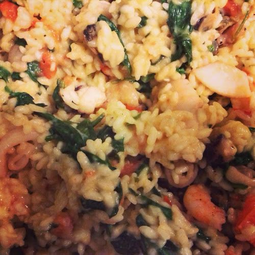Spinach and Tomato-Basil Seafood Risotto | Seafood | Pinterest