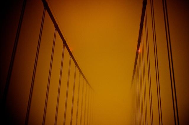 Golden Gate Bridge near midnight.