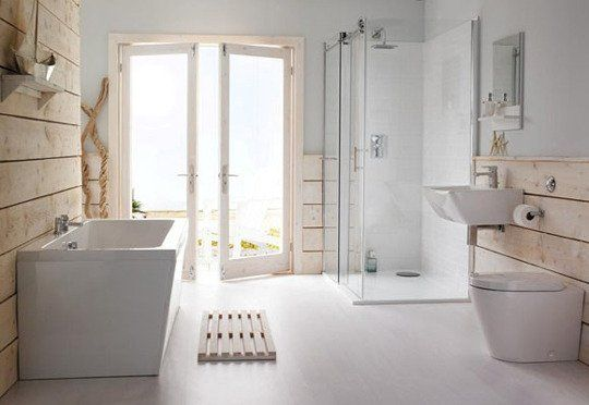 modern and rustic bathroom angular tub and glass encased shower