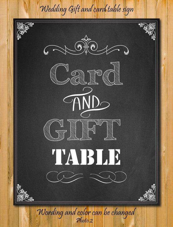Wedding Gift Table Sign : Card and Gift table Sign, Custom wedding Sign, DIY Printable, Chalkbo ...