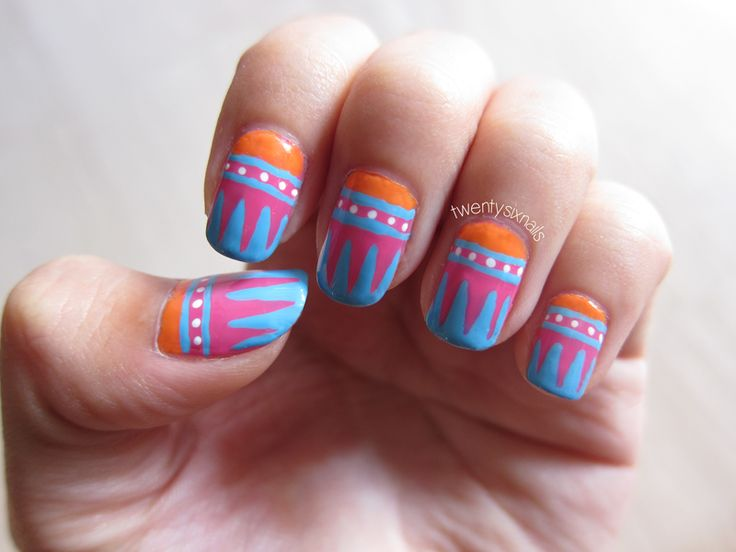 singapore nail art twentysixnails colourful nails triangles tribal