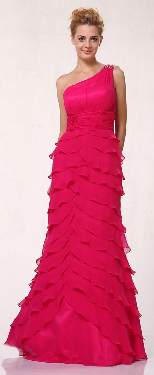 Alysia - Long Fuchsia Party Dress