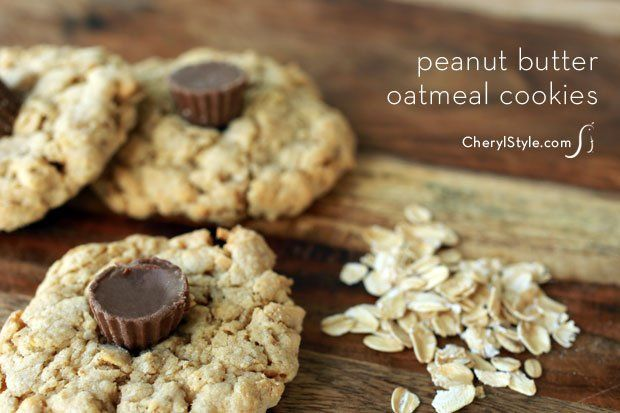 Peanut butter oatmeal cookie with mini Reese's cups