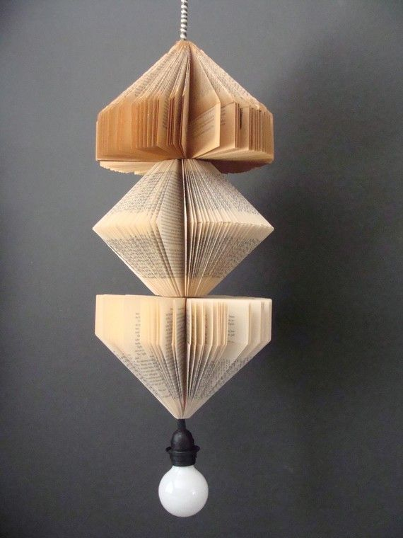 Handmade Upcycled Vintage Book Lamp - Hanging Pendant Lighting Fixture 125$
