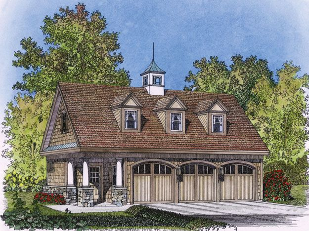 This Elegant And Picturesque Design For A Three Car Garage
