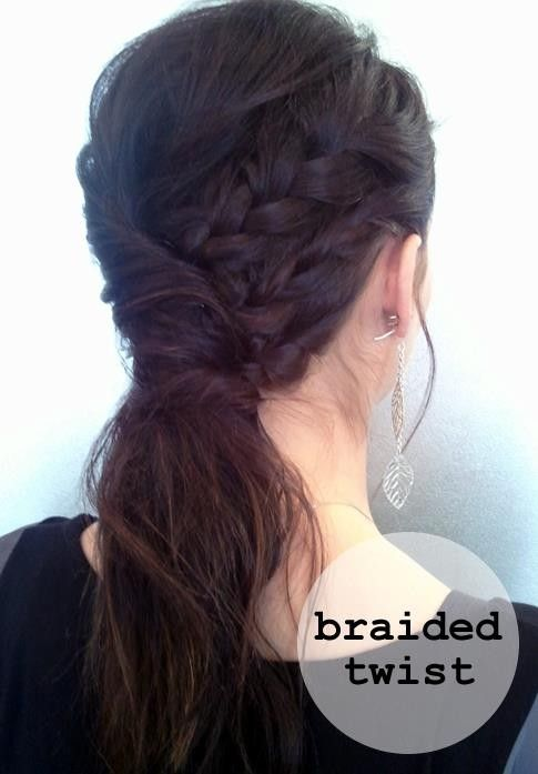 Step 1: On one side, braid 3 strands and secure with bobby pins toward the middle of the head.    Step 2: Take the remaining hair from the opposite side and twist over the braided section.     Step 3. Hold with bobby pins