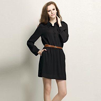 Women's Shirt Pleated Dress with Belt | Fashion | Pinterest