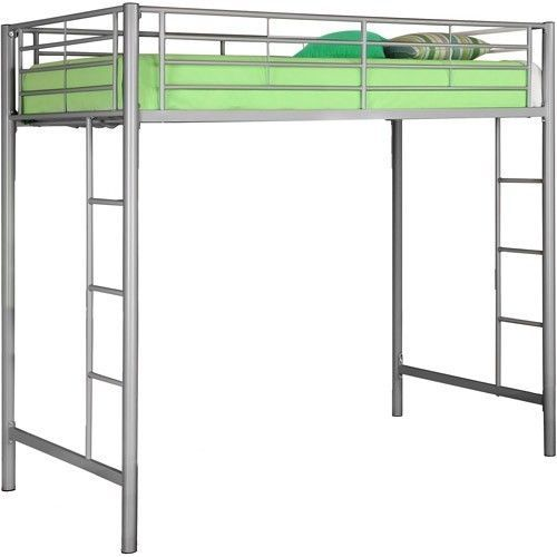 New Silver Premium Metal Loft Twin Bed Steel Frame Guard Rails Ladder  500 x 500
