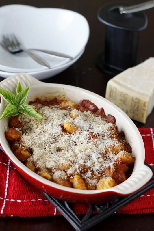 Baked Gnocchi with Two Cheeses. I added ground pork, extra sauce and ...