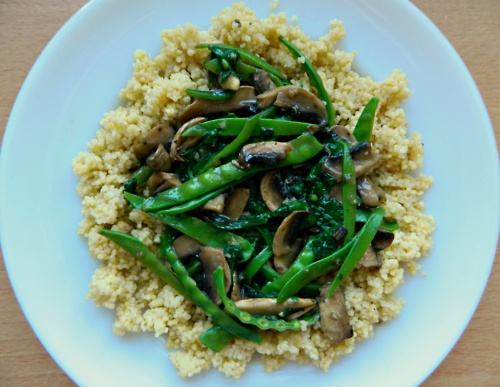 Cozy Millet Bowl with Mushroom (and spinach and mangetout) Gravy. # ...