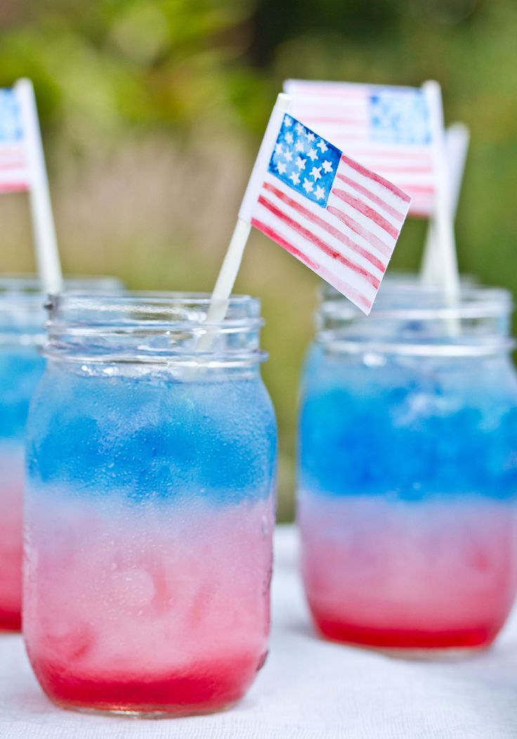 4th of July Drink: 1. Add Cranberry Juice (40g) 2. Fill glass with ice 3. Pour Sobe Piña Colada (25g) slowly on an ice cube 4. Low cal Blue Gatorade (5g)