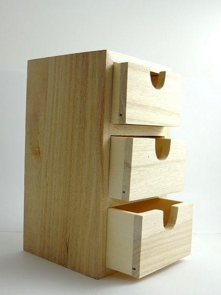 Mini commode en bois, 3 tiroirs ~ Mini Commode Bois