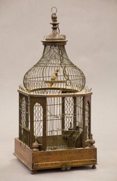 Regency walnut inlaid bird cage.