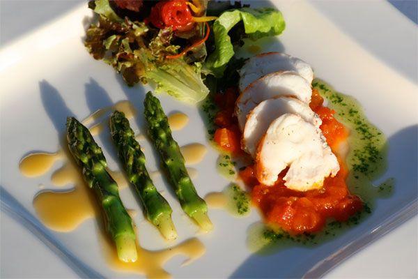... saffron-tomato concassé & asparagus salad with grapefruit vinaigrette