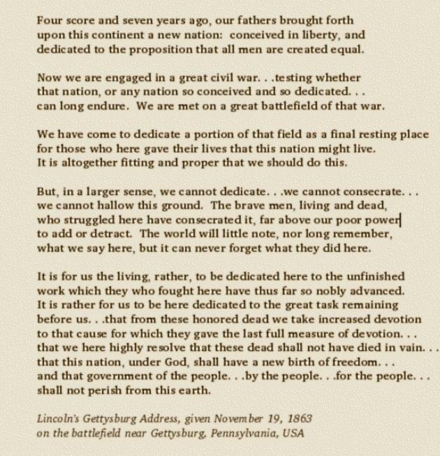 Gettysburg Address Lincoln In Gettysburg Pinterest