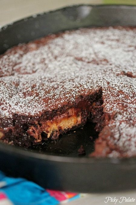 Peanut Butter Snickers Brownie Skillet   Recipe
