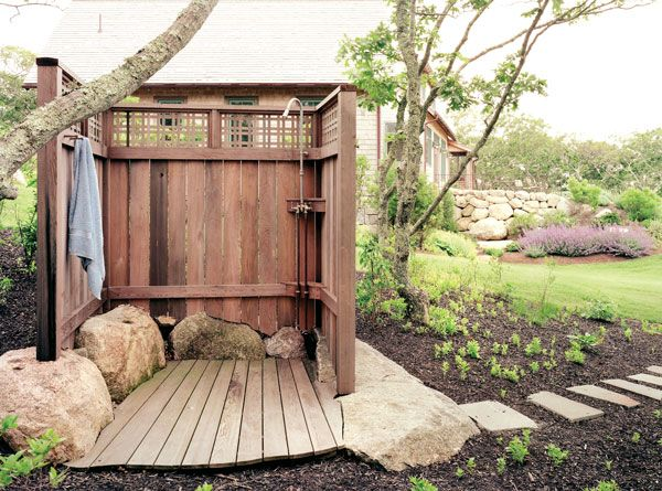Outdoor shower outdoor showers pinterest for Outdoor rock shower
