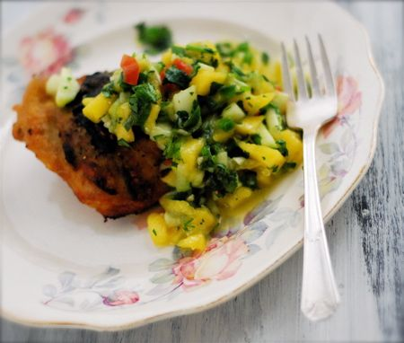 an easy, spicy chicken recipe with a salsa that can be made with mango ...