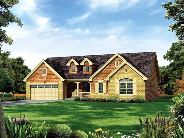 Elevation Of Country Ranch Traditional House Plan 95887