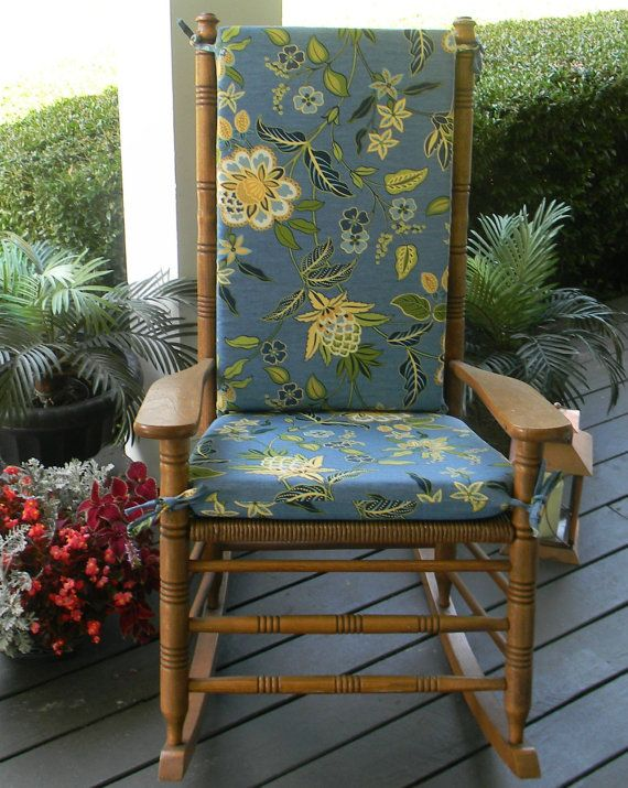 Indoor Outdoor Blue Green Yellow Floral Rocking Chair 2 PC Cushion