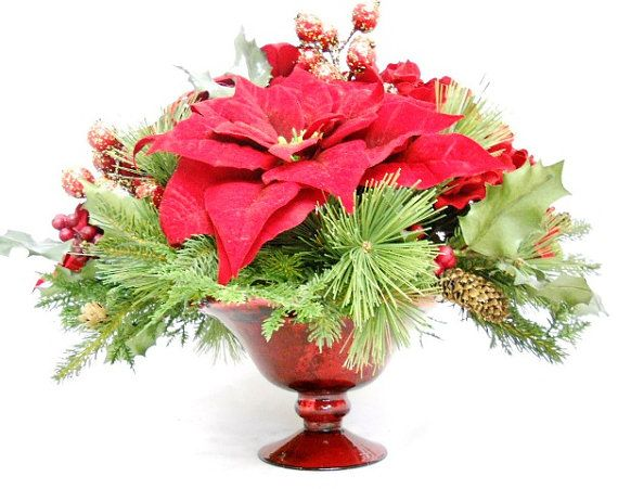 Poinsettia centerpiece i can do this flowers for Poinsettia arrangements