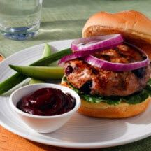 Blueberry Turkey Burgers with Blueberry Ketchup - Adding blueberries ...