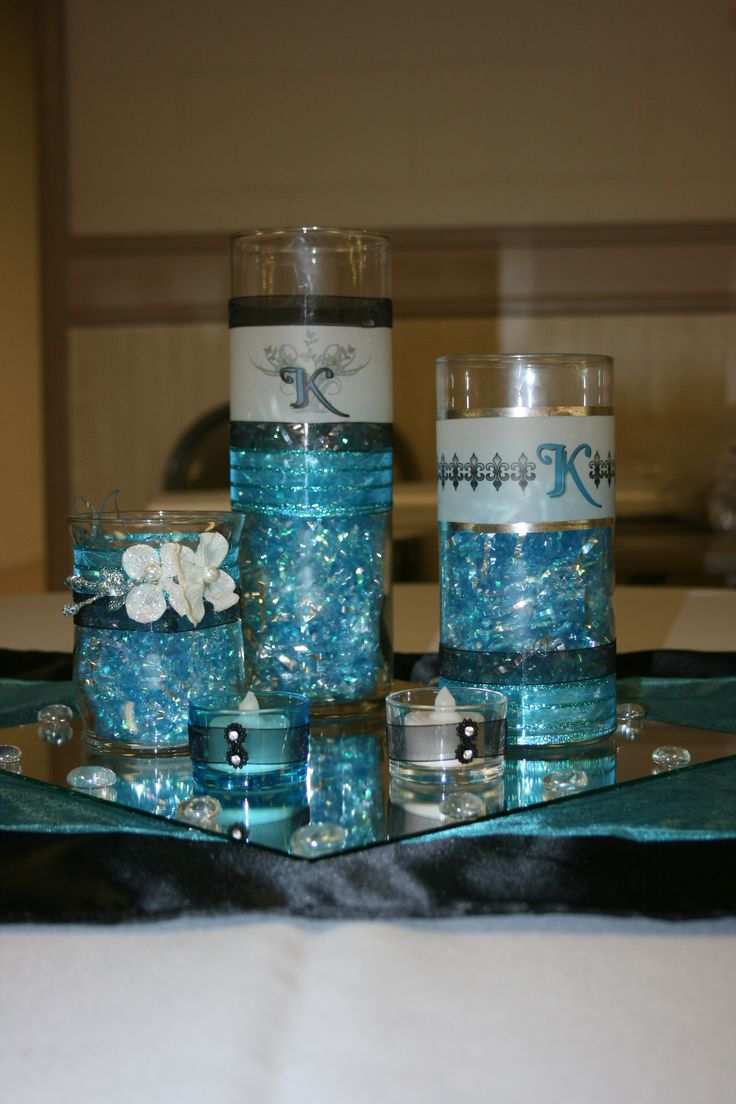 Dollar store centerpiece turquoise black my