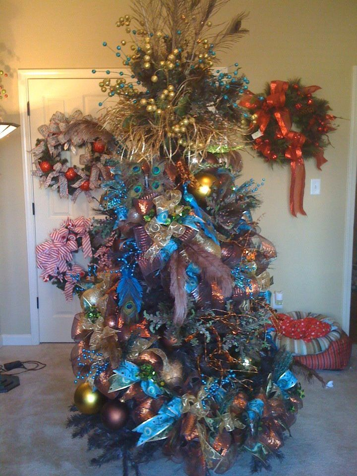 Blue chocolate copper and gold peacock christmas tree designed by