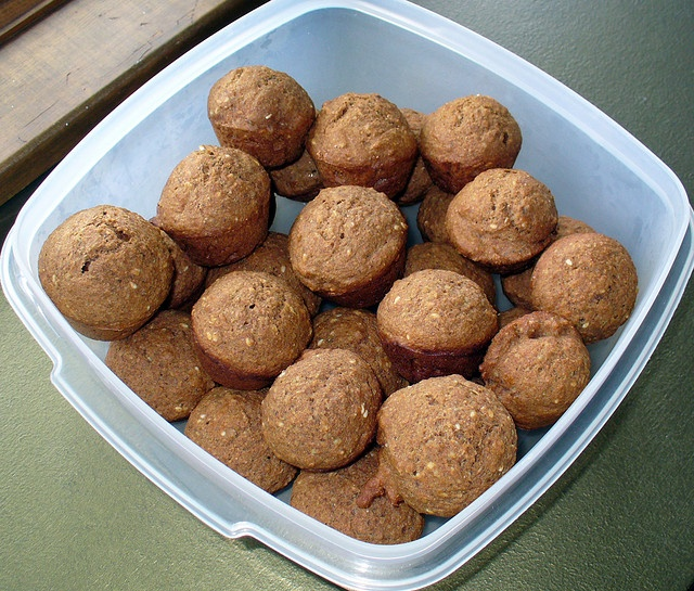 For Peedee's 7th birthday, I made the dogs Maple Cinnamon Mini-Muffins ...