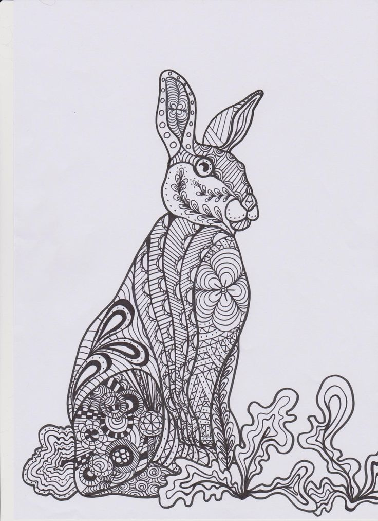 Zentangle Bunny Colouring In Page
