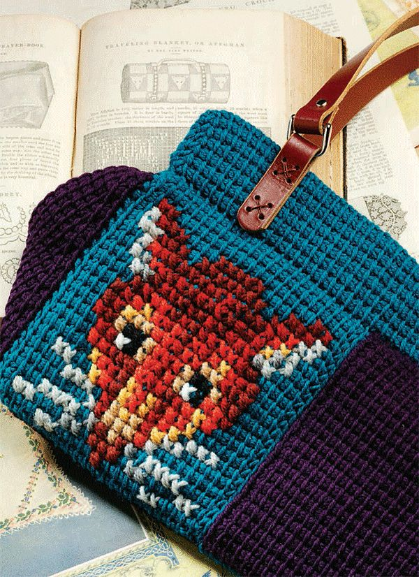 Tunisian crochet & cross stitch bag crochet & knitting Pinterest