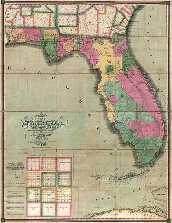 Antique map of Florida from 1829