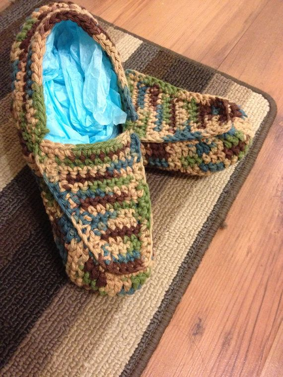 Handmade Crochet Camo Statement Slippers on Etsy, $40.82 CAD