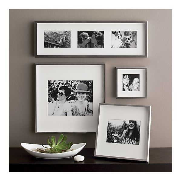 Wall Art Silver Frames : Brushed silver triple wall frame