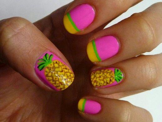 Pineapple nail art | Beauty | Pinterest