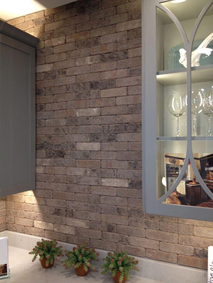 ironwork thin brick no mortar joint backsplash pinterest