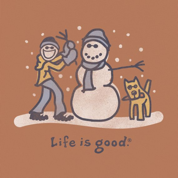 Boys' Snowman Build Long Sleeve Tee|Life is good
