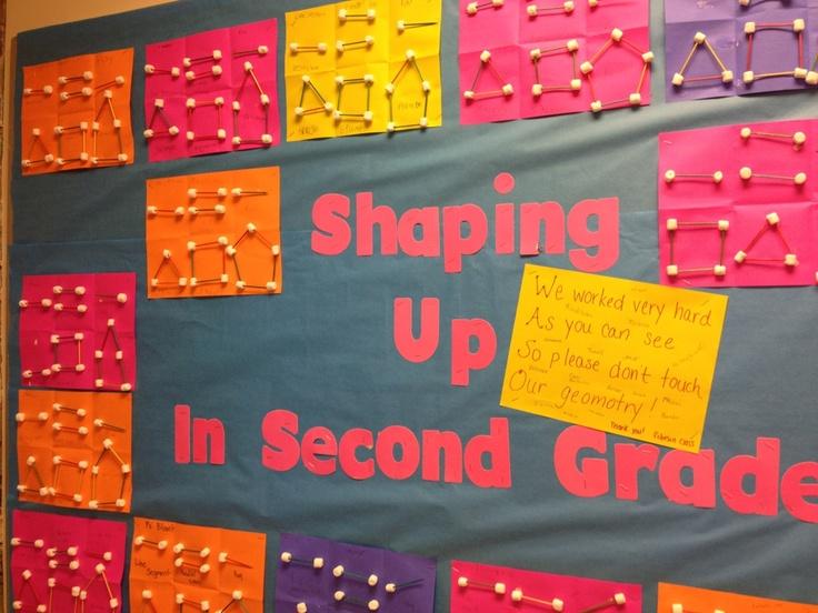 Bulletin Board Ideas - Geomotry using toothpicks and mini marshmallows. love it!