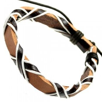 Light Brown Crossed Pattern Leather Bracelet