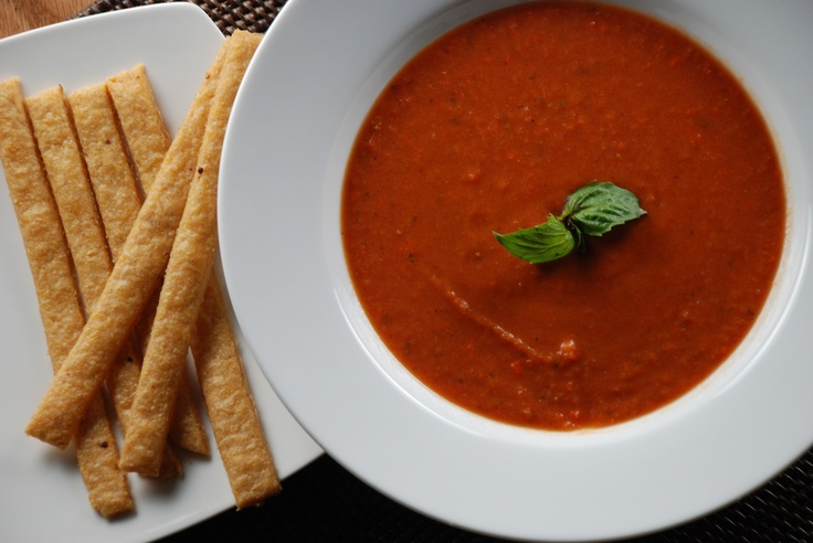 Creamy Tomato Soup and Cheese Straws | Soups and Soufflés | Pinterest