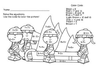 Christmas Math Coloring Worksheets