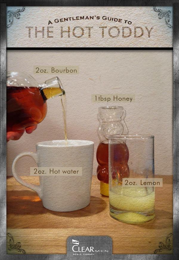 hot toddy: 2oz each of water, bourbon, lemon, and 1tbsp honey